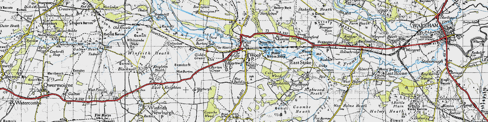 Old map of Wool in 1945