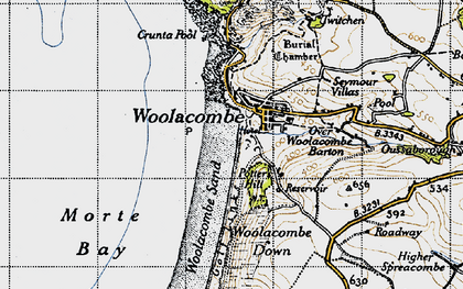 Old map of Woolacombe Down in 1946