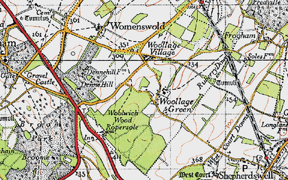 Old map of Woolage Green in 1947