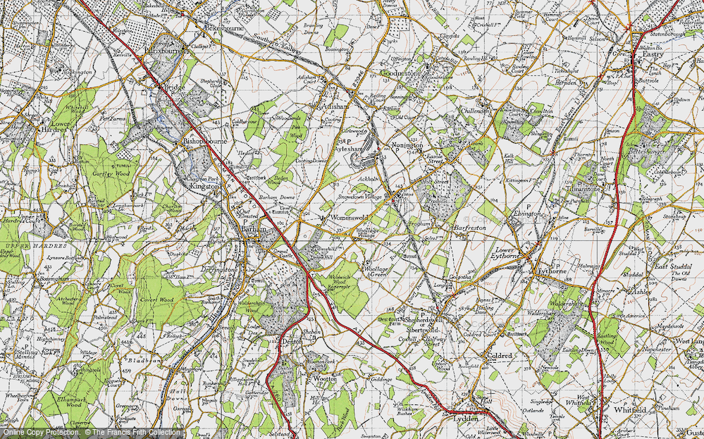 Old Map of Woolage Village, 1947 in 1947