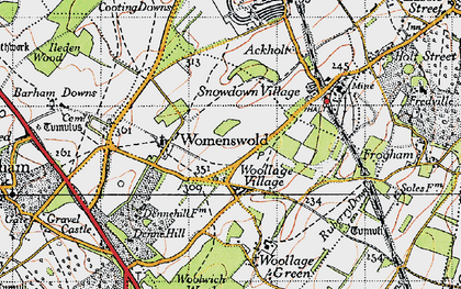 Old map of Woolage Village in 1947