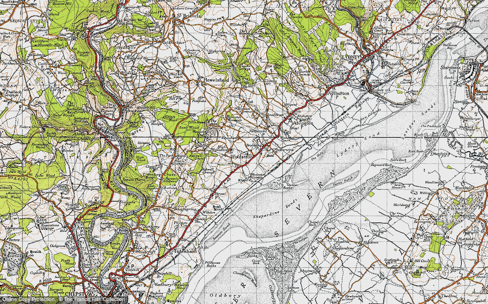 Old Map of Historic Map covering Woolaston Grange in 1946