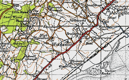 Old map of Woolaston Grange in 1946