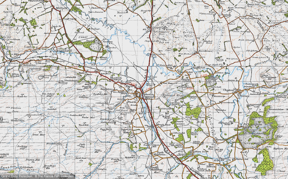 Old Map of Wooler, 1947 in 1947
