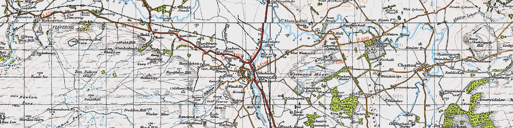 Old map of Wooler in 1947