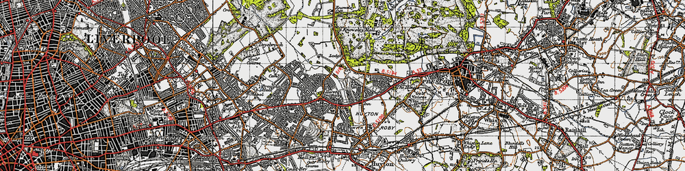 Old map of Woolfall Heath in 1947