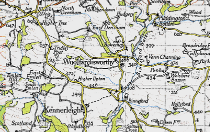 Old map of Woolfardisworthy in 1946