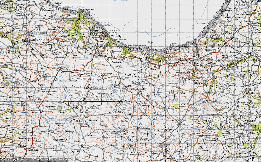Old Map of Woolfardisworthy, 1946 in 1946