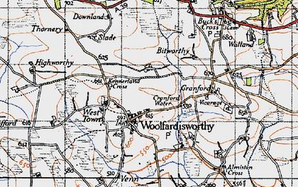 Old map of Woolfardisworthy in 1946