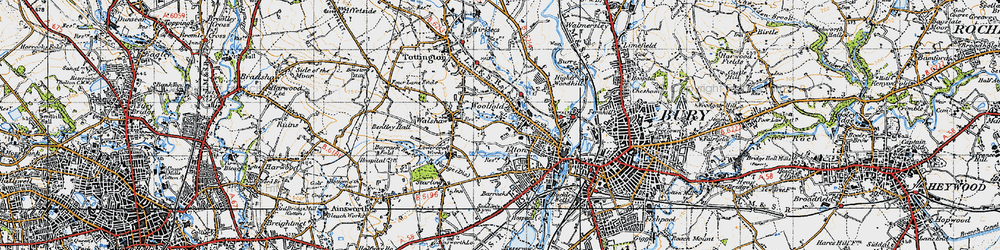 Old map of Woolfold in 1947
