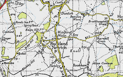 Old map of Woolford's Water in 1945
