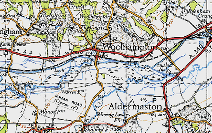 Old map of Woolhampton in 1945
