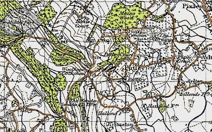 Old map of Woolhope Cockshoot in 1947
