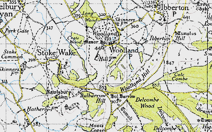 Old map of Woolland in 1945