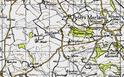 Old map of Awsland in 1946