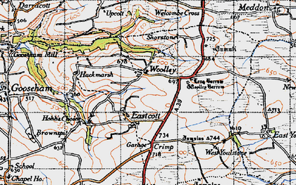 Old map of Woolley in 1946