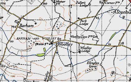 Old map of Woolley Hill in 1946