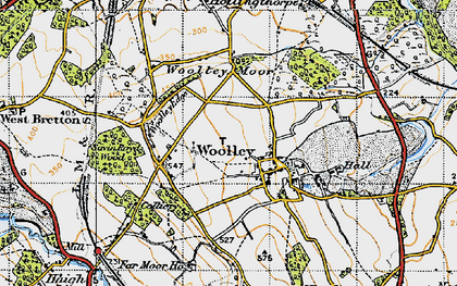 Old map of Woolley Edge Service Area in 1947