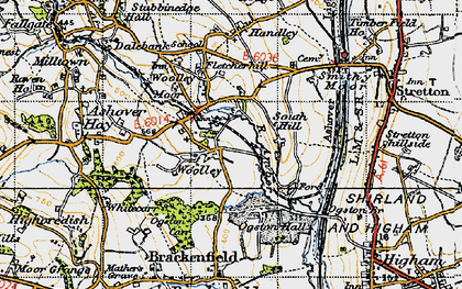 Old map of Woolley in 1947