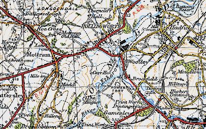 Old map of Woolley Bridge in 1947