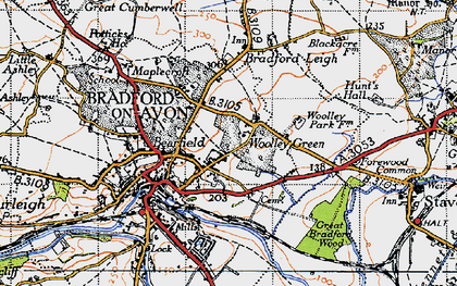 Old map of Woolley Green in 1946