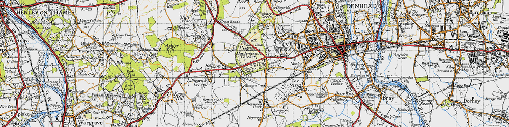 Old map of Woolley Green in 1947