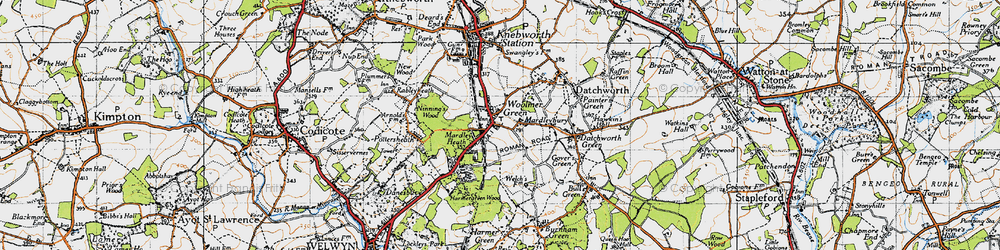 Old map of Woolmer Green in 1946