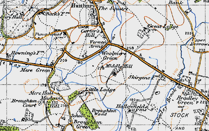 Old map of Woolmere Green in 1947