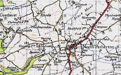 Old map of Woolmersdon in 1946