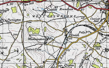 Old map of Woolminstone in 1945