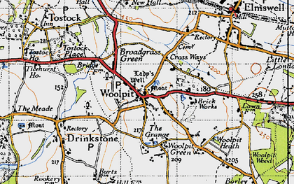 Old map of Woolpit in 1946