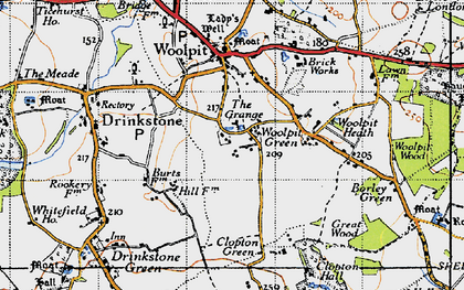 Old map of Woolpit Green in 1946