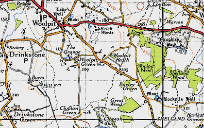 Old map of Woolpit Heath in 1946