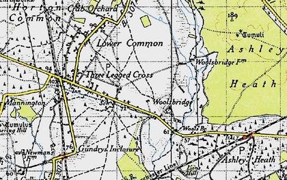 Old map of Woolsbridge in 1940
