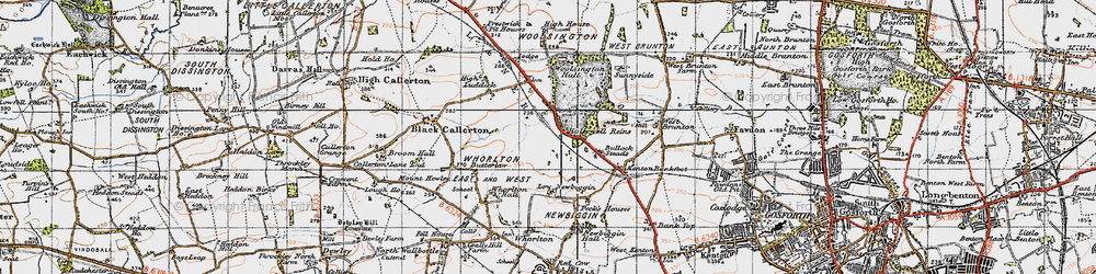 Old map of Woolsington in 1947