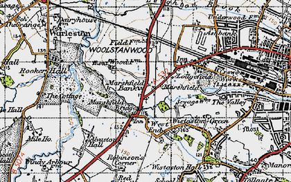 Old map of Woolstanwood in 1947