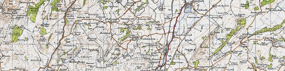 Old map of Woolstaston in 1947