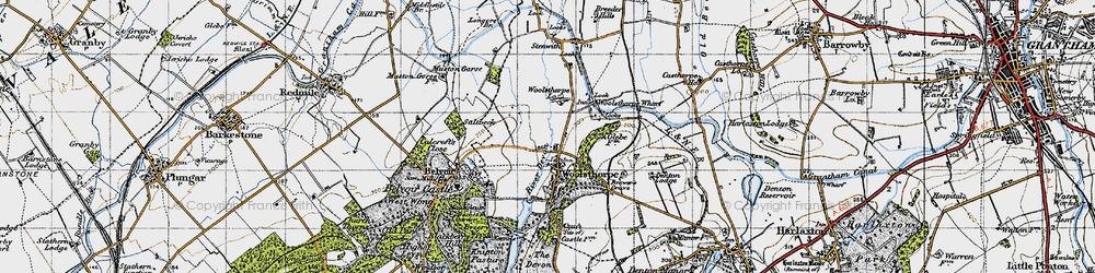 Old map of Woolsthorpe By Belvoir in 1946