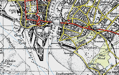 Old map of Woolston in 1945