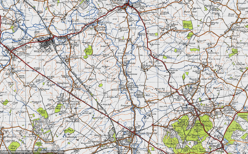Old Map of Woolstone, 1946 in 1946