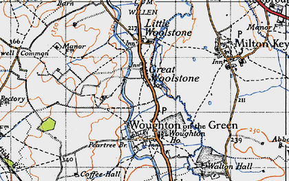 Old map of Woolstone in 1946