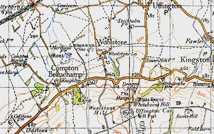 Old map of Whitehorse Hill in 1947