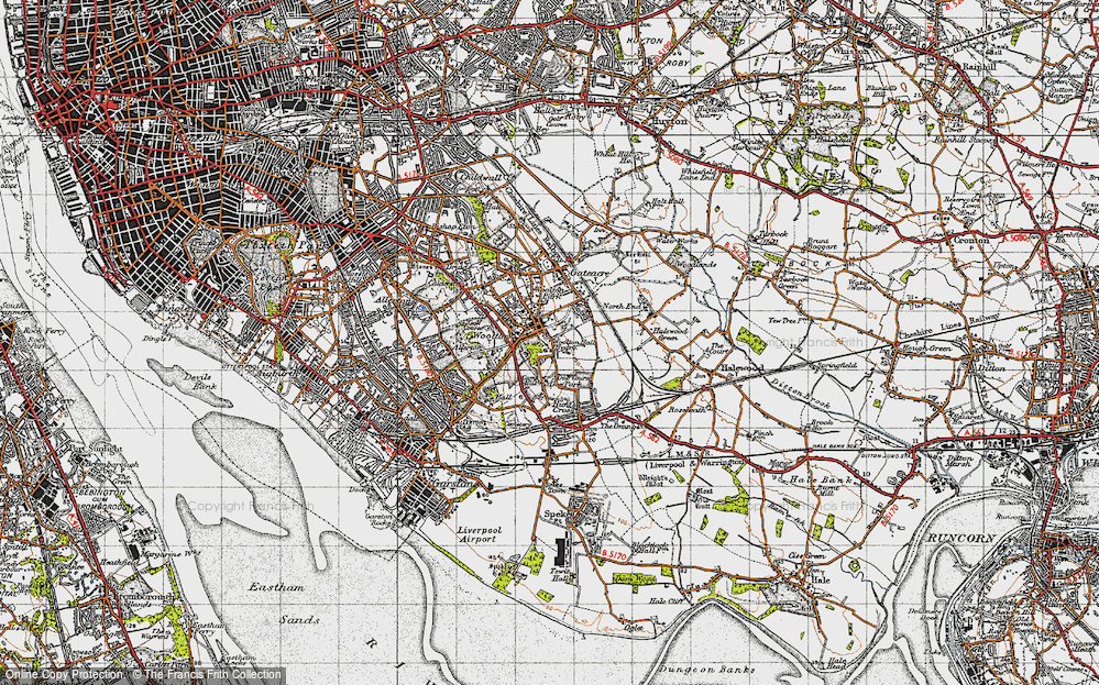 Old Map of Woolton, 1947 in 1947