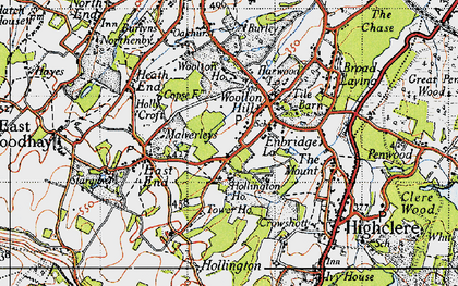 Old map of Woolton Hill in 1945