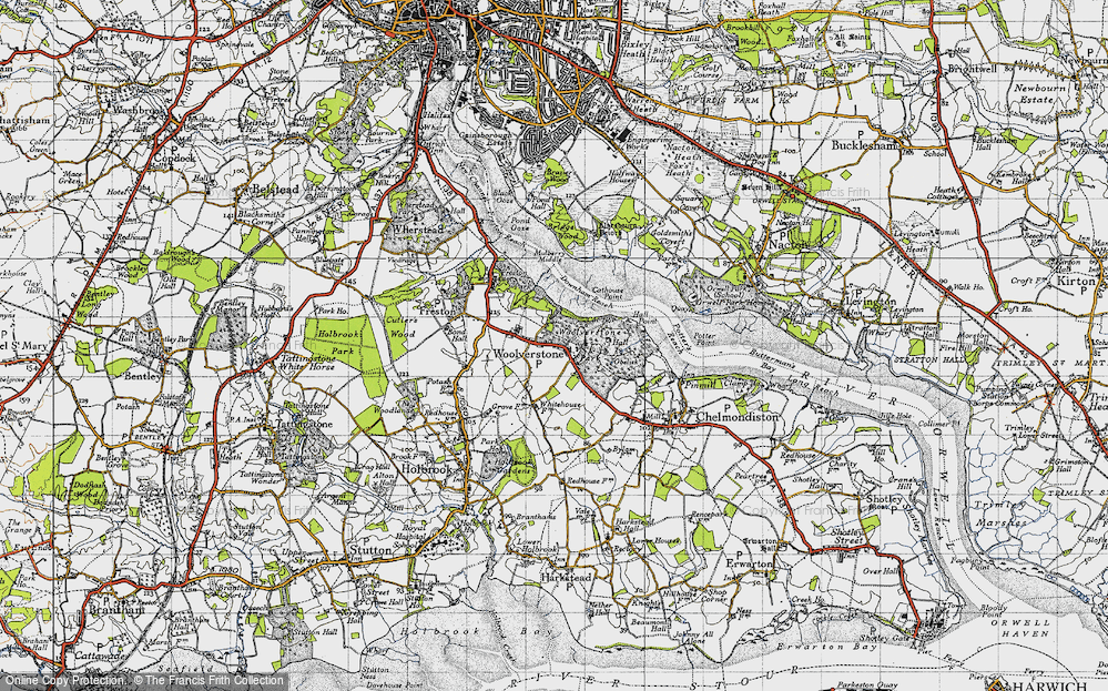 Old Map of Woolverstone, 1946 in 1946
