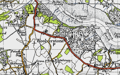 Old map of Woolverstone Park in 1946