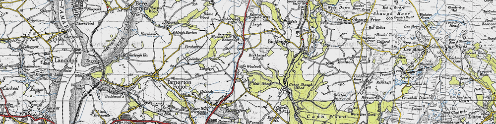 Old map of Woolwell in 1946
