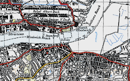 Old map of Woolwich in 1946