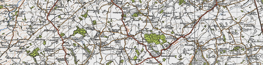 Old map of Woonton in 1947