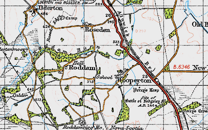 Old map of Wooperton in 1947